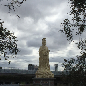 Golden statue of the Queen of Peace in Footscray