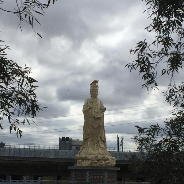 Golden statue of the Queen of Peace in Footscray